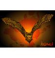 Hand drawn graphic ornate bat on grunge background vector image