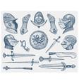 big set medieval symbols helmet and gloves vector image