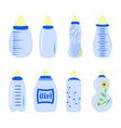 set of baby bottles for boy in vector image