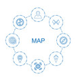 8 map icons vector image vector image