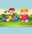a fat boy running at the park vector image