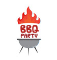 bbq party grill with fire background image vector image vector image