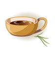 beige cup with big handle and hot herbal tea vector image vector image