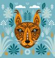 big cat lynx stylized face lynx vector image