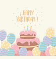 birthday cake with candles and balloons party vector image