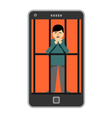 Businessman locked in smartphone vector image