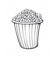 cartoon bucket full popcorn outline vector image vector image
