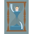 Cartoon businessman drowning in time vector image vector image
