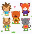 cartoon collection of cute forest baby animals vector image vector image