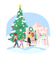 christmas market flat toys market stall vector image vector image