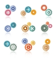 Connected Color Gears Icons Set vector image