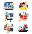 digital health symbols compositions set vector image vector image