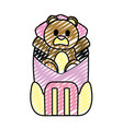 doodle bear teddy toy inside backpack style vector image vector image