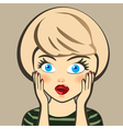 Emotion Surprised blonde woman Expression look and vector image vector image