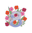 figure eight with pink and red tulip flowers vector image