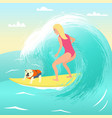 girl on surfboard with dog vector image
