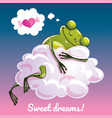 greeting card with a cartoon frog on the cloud vector image