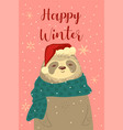 greeting card with a cute christmas sloth vector image