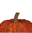 greeting card with colored doodle of pumpkin with vector image vector image