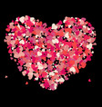 heart shape pink confetti splash vector image