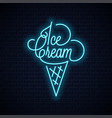ice cream in waffle cone neon sign vector image vector image