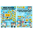 internet business and startup line art web posters vector image