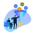 leads generation sales funnel balls entering vector image