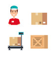 logistic service business icons vector image vector image