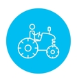 Man driving tractor line icon vector image vector image