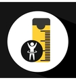 man hand up silhouette measure tape icon design vector image vector image