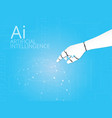 mechanical robotic hand pointing on circuit board vector image