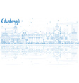 Outline Edinburgh Skyline with Blue Buildings vector image vector image