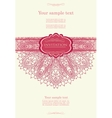 Pink invitation with lace template vector image vector image