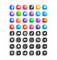 popular social media network modern 3d rounded vector image vector image