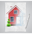 realistic house being drawn vector image vector image