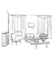 Room interior sketch Window and furniture vector image