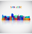 san jose skyline silhouette in colorful geometric vector image vector image