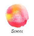 school knowledge book with apple watercolor vector image vector image