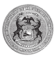 Seal of the state of Michigan vintage engraving vector image vector image