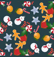 seamless pattern with christmas toys and sweets vector image