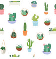 seamless pattern with different cactus vector image