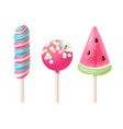set 3 colorful lollipops vector image