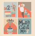 set christmas cards with cute mouse and santa vector image