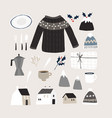 set cute christmas lifestyle and food icons vector image vector image