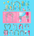 set of chancels wedding ceremony with different vector image vector image