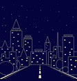 silhouette of the city road in the night city vector image vector image