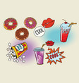 sweet fast food set for the movie vector image vector image