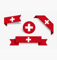 swiss flag stickers and labels vector image
