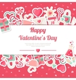 Valentines Day Banner With Flat Icons Stickers on vector image vector image