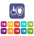 wheelchair and safety shield icons set vector image vector image